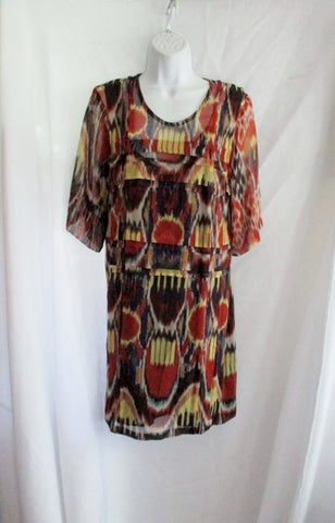 NEW  DRIES VAN NOTEN Silk Dress 36 4 ORANGE PURPLE Print Block YELLOW