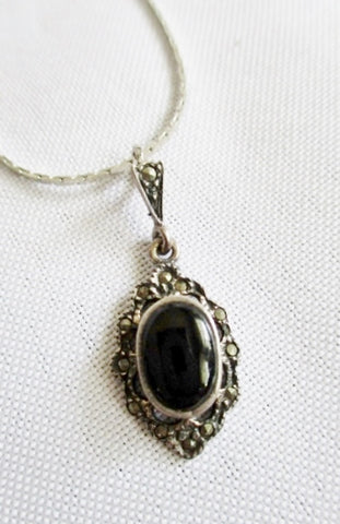 "15"" STERLING SILVER BLACK ONYX MARCASITE Pendant Chain NECKLACE CHOKER Charm"