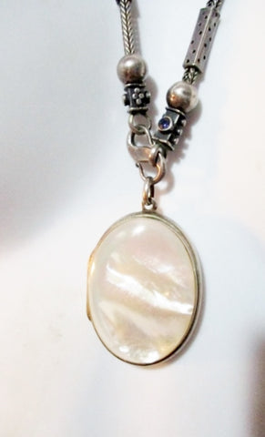 925 STERLING SILVER LOCKET MOTHER OF PEARL Necklace Lariat Pendant Ethnic Jewelry Statement