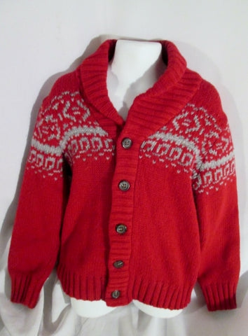 Kids BABY GAP Ethnic Knit Holiday Christmas Sweater Jacket Cardigan RED Sz 5 Childrens