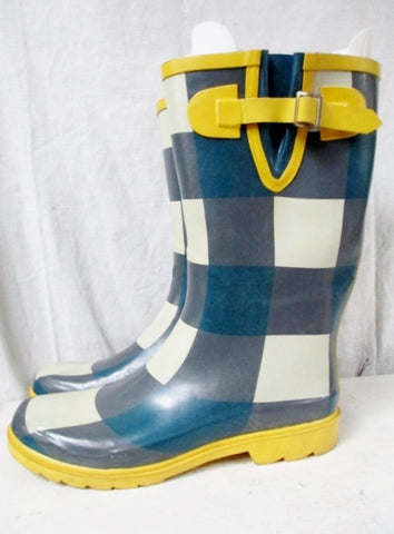 Womens Ladies MADDEN GIRL Wellies Rain Boots Gumboots Foul Weather 10 YELLOW PLAID