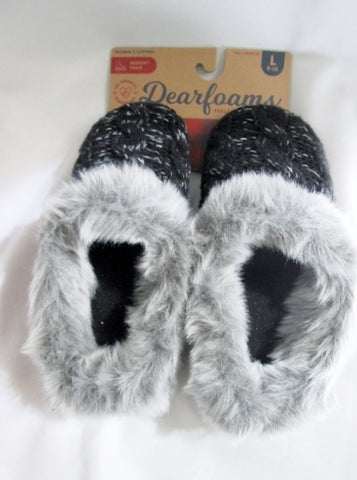 NEW Womens DEARFOAMS Faux Fur Knit Clog Moc Slippers Slides Shoes L 9-10 BLACK GRAY