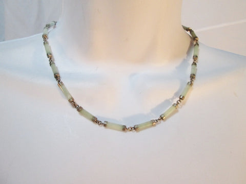 "17"" JADE STONE Hinged STERLING SILVER Necklace Choker GREEN Asia Statement China"