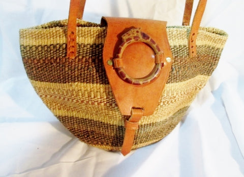 Woven Leather Basket Tote Satchel Shoulder Market Bucket Bag BROWN GIRAFFE NATURAL