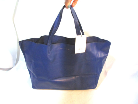 NEW CELINE HORIZONAL CABAS LUGGAGE COBALT BLUE Leather Tote Bag NWT Italy