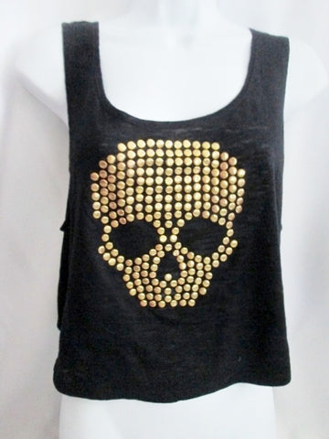 NEW J.J. BASICS SKELETON SKULL Tank Cami Crop Top Fitness Athletic Shirt XL BLACK