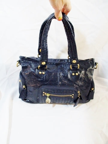 THE SAK Patent Leather Tote Bag Saddle Purse NAVY BLUE Boho Pockets