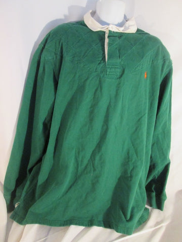 Mens RALPH LAUREN POLO RUGBY SHIRT Sweatshirt 3XLT TALL GREEN Quilted