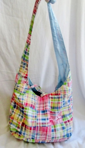 BRACIANO MADRAS hobo PLAID satchel tote Shoulder bag MULTI Vegan Sling Preppie