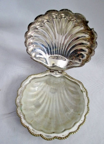 F&JL ENGLAND SCALLOP SEASHELL SEA SHELL SILVER MERMAID Trinket Box Ashtray SILVERPLATE
