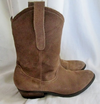 Womens AEO AMERICAN EAGLE OUTFITTERS Western Cowboy Rocker Suede BOOTS 7 BROWN