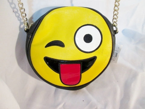 NEW OLIVIA MILLAR EMOJI Crossbody Shoulder Travel BAG YELLOW BLACK Tongue Winky Face
