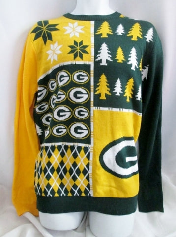 NEW Mens GREEN BAY PACKERS NFL TEAM APPAREL FOOTBALL Knit Sweater L GREEN YELLOW
