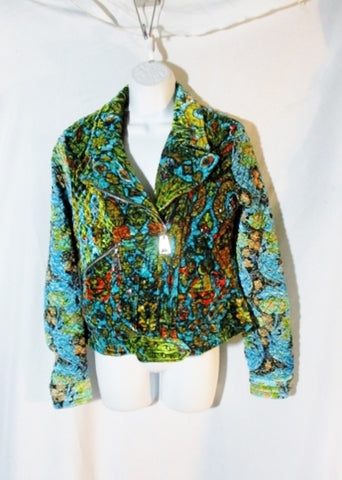 NWT NEW LOUIS VUITTON FRANCE FLORAL jacket coat 40/8 BLUE GREEN Textured