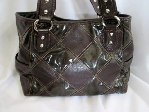 TIGNANELLO leather patchwork hobo satchel shoulder bag tote ESPRESSO BROWN M