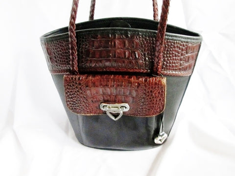 BRIGHTON Pebbled Croc Leather Shoulder Bag Tote Purse Satchel BLACK BROWN