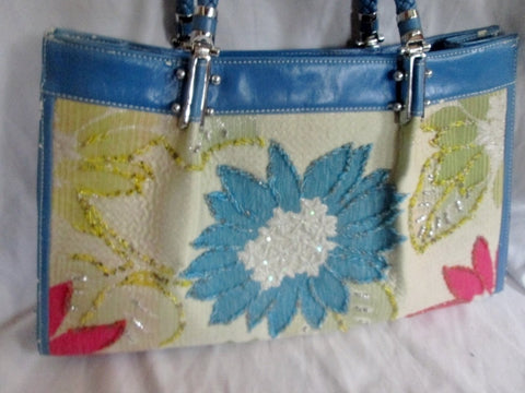 MELLOW WORLD Vegan Satchel TOTE Bag Shoulder Bag Carryall BEADED Floral L