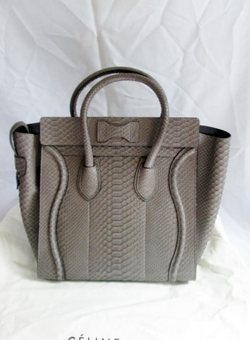 NEW CELINE PARIS ITALY Python Leather MINI LUGGAGE GREY GRAY Tote Bag  NWT