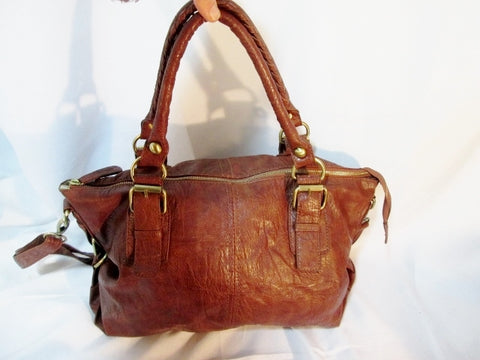 ALDO Faux Vegan Leather Stitch Western Sling Hobo Bag Satchel Purse BROWN M