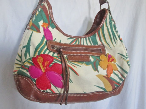 NEW St. John's Bay hobo satchel shoulder saddle bag FLORAL APPLIQUE M