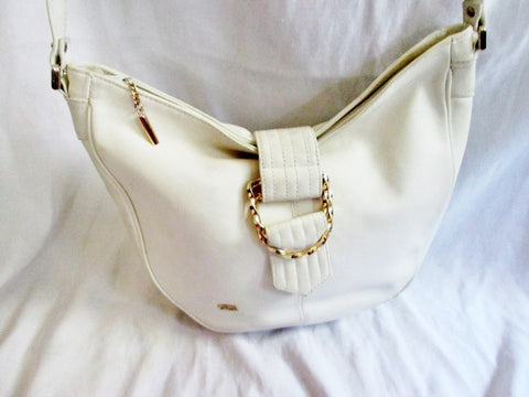 PHILLIPPE leather hobo satchel shoulder signature bag handbag WHITE purse boho