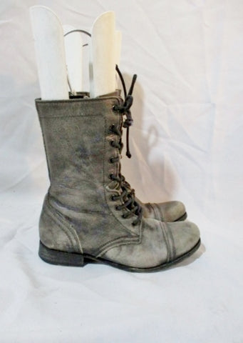 ALL-SAINTS SPITALFIELDS Leather Boot BLACK GRAY 39 8.5 Bootie Captoe Military