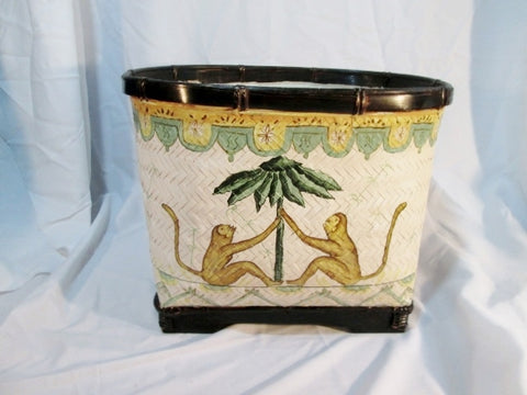 Hand Painted BASKET Monkey Jungle Animal WOVEN Reed Straw Can Bucket WHITE GREEN