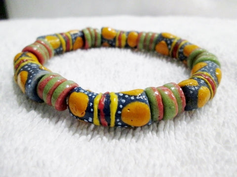Handmade AFRICA TRADE Bead BRACELET Tribal Ethnic Cuff Bangle BLUE ORANGE GREEN RED