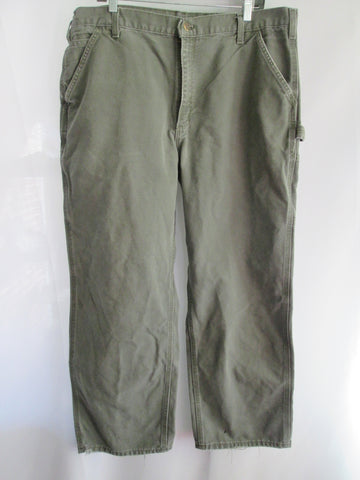 MENS CARHARTT B11 Washed Duck Work Utility Dungaree Pant Jean GREEN 40 X 30 MOSS