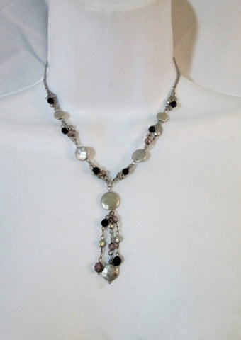 NEW LIA SOPHIA HAMMERED DISK Triple Strand Necklace SILVER BLACK Choker NWT Hippie