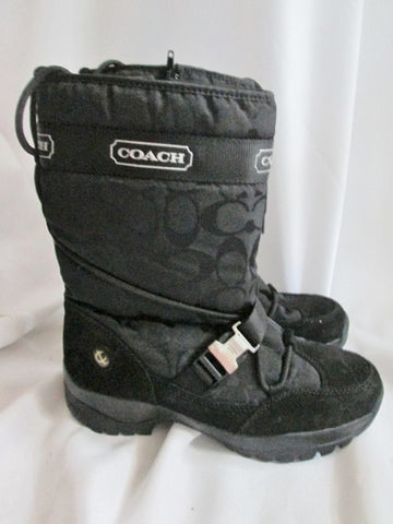 Womens  COACH SELA Signature C Quilted Boot Waterproof Snow Rain 7.5 BLACK Puffer