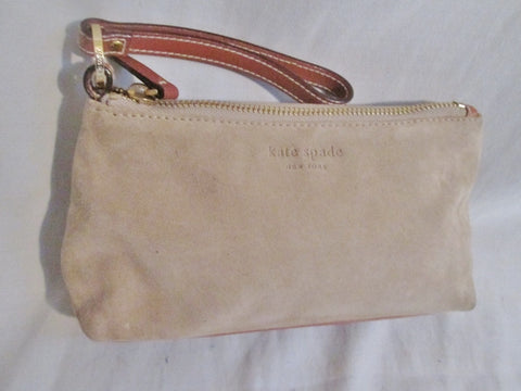 EUC KATE SPADE SUEDE LEATHER Wristlet Purse Clutch Wallet BEIGE TAN SAND BROWN