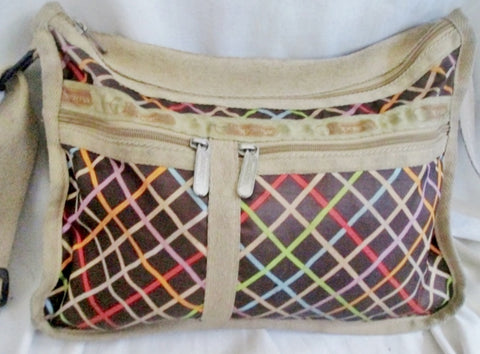 LESPORTSAC Nylon shoulder bag purse crossbody Vegan Le Sport Sac BROWN PLAID