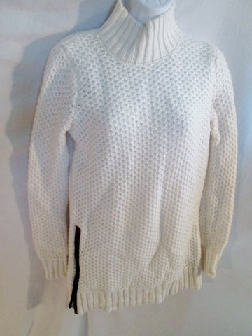 NEW Womens BANANA REPUBLIC Sweater WAFFLE Turtleneck Tunic WHITE S Pullover