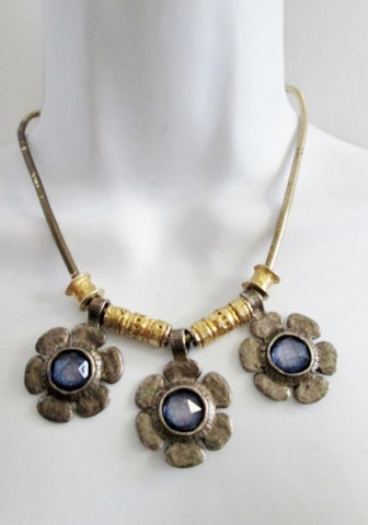 "LOLITA PARIS 16"" FLORAL FLOWER Necklace Choker Collar SILVER BLUE GOLD Boho Statement"