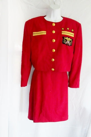 Vintage Womens W. Germany MONDI  Skirt Suit Set Military Sz 38 S RED GOLD EAGLE