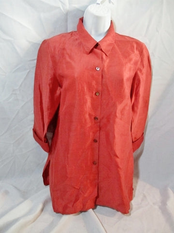 NEW SIGRID OLSEN Button Up Linen Silk Shimmery SHIRT Top PM RED TOMATO Womens