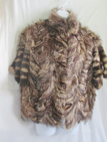 Vintage A FUR BY MADISON'S WOMENS RACCOON TAIL jacket coat vest BROWN 83 873