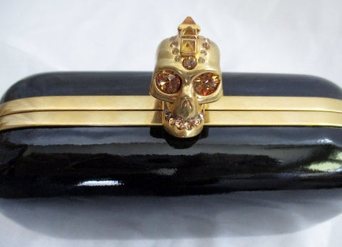 NEW NIB ALEXANDER MCQUEEN SKULL GOLD BLACK CLUTCH Case Box Bag