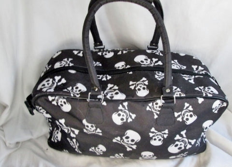 SKULL SKELETON SLEEPOVER Vegan Duffle Gym Bag Overnighter BLACK WHITE Travel