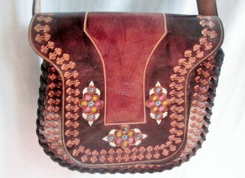 ALMANACH Tooled Leather Handbag Shoulder Saddle Flap Bag Satchel BROWN FLORAL