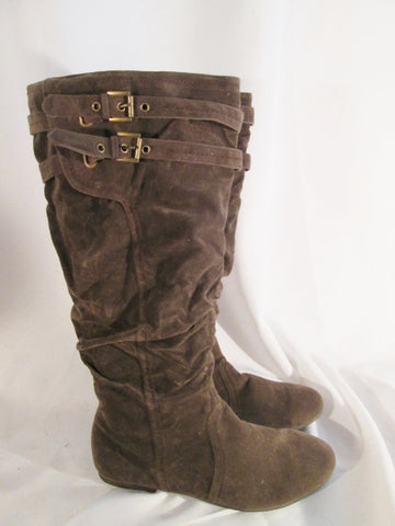 NEW Womens LANE BRYANT Vegan Knee High Slouch BOOTS BROWN 12 Buckle