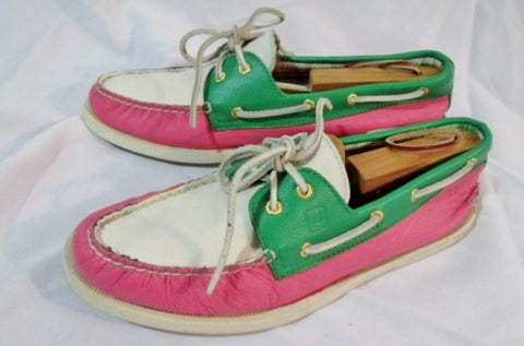 Womens SPERRY TOP SIDER Eye PREPPY Leather Boat Shoe 12 PINK GREEN WHITE