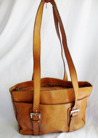 ETIENNE AIGNER Leather Shoulder Bag Tote Briefcase Purse BROWN Carryall