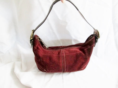 COACH 4286 Suede Leather Hobo Handbag Satchel Purse Shoulder Bag RED BURGUNDY