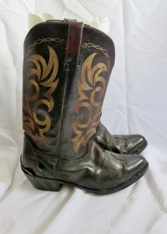 Mens Cut-Out Western Cowboy Rocker Riding Leather BOOT 11 W BROWN Rider