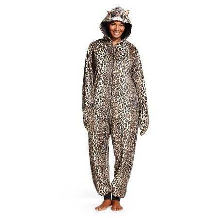 Womens NICK & NORA Pajama Disguise Halloween Costume LEOPARD SPOT CAT S Cosplay