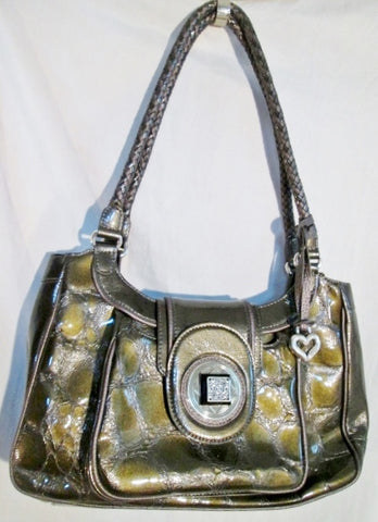 BRIGHTON Leather Croc Shoulder Bag Tote Hobo Saddle Purse GOLD METALLIC HEART