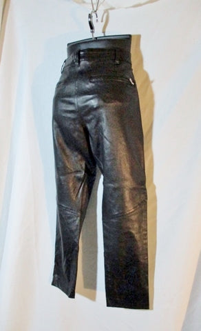 NEW Ann Demeulemeester LEATHER Trouser PANTS 38 6 BLACK Goth Womens