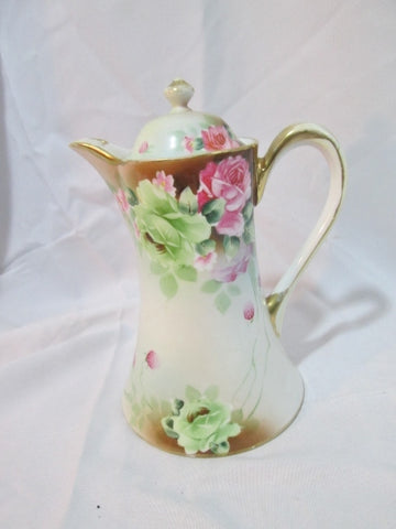 Antique Signed HAND PAINTED NIPPON STRAWBERRY FLORAL PITCHER WHITE ROSE Japan